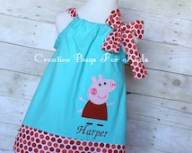 Peppa Pig Dress/ Personalized Peppa Pig Outfit/ Birthday Peppa Pig Outfit (matching Peppa Pig bag is available)- personalized