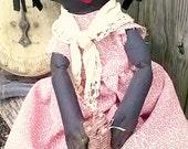 Black Raggedy Ann-Black Rag Doll-Black Cloth Doll