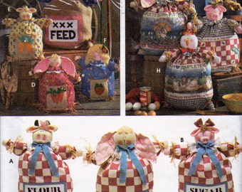 Simplicity 9612, Feed Sack Dolls in 3 Sizes Sewing Pattern, 12, 15 and 20 Inch Feed Sack Dolls Pattern, Porch Sitter, Porch Greeter Doll