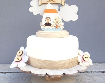 Sailing boat wedding topper - shabby chic style personalised cake topper