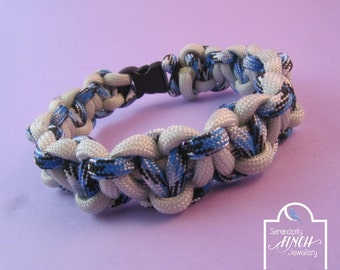 Blue White Solomons Heart Paracord Bracelet, Blue White Bracelet, UK