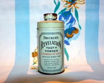 Druckers Revelation Tooth Powder Tin, 1941