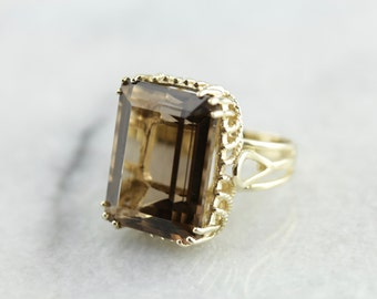 Bold Smoky Quartz Ring with Rope Detailed Undercarriage Q33F09-R