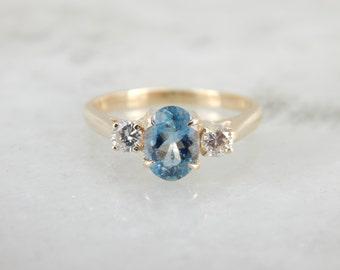 Rare Blue Aquamarine, March Birthstone Ring H7HL11-R