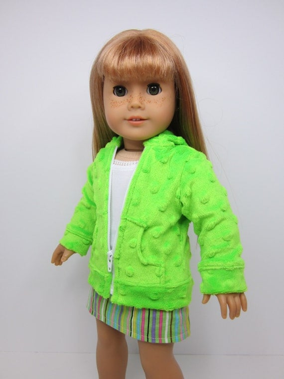 American Girl doll clothes-  Neon green  bubble fleece  hoodie.