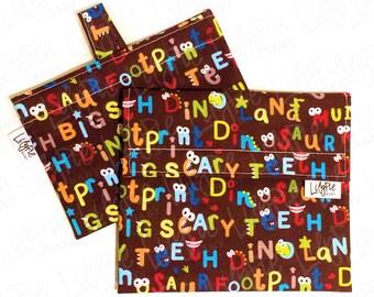 Reusable Sandwich Bag & Reusable Snack Bag Set in DINOSAUR ALPHABET - Velcro - ECOfriendly - Food Safe - Dishwasher Safe - Back to School