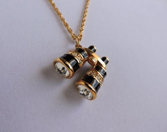Swarovski Crystal Binoculars Pendant Necklace | Traveler Tourist Souvenir Gold Chain | Gold & Black Enamel Pendant | GreenTreeBoutique