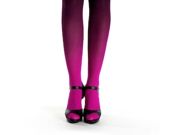 Ombre tights magenta-black