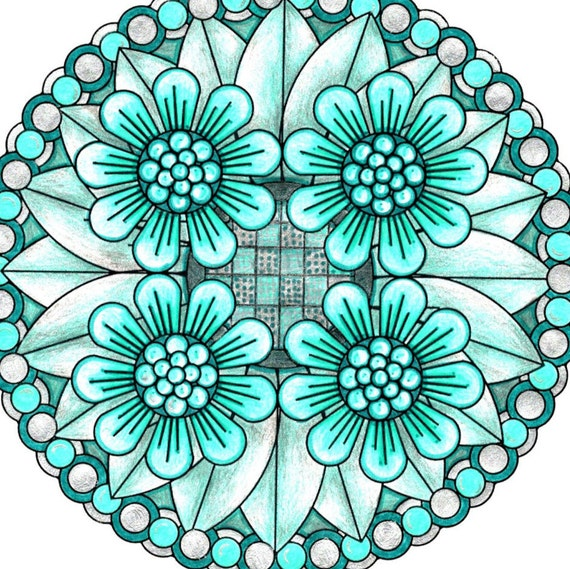 flower mandala coloring page to print and by littleshoptreasures. Black Bedroom Furniture Sets. Home Design Ideas