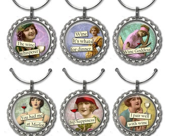 Funny Sayings Wine Charms - set of 6 wine charms, Wine Divas with funny sayings