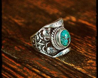 Turquoise Lotus Saddle Ring - Size 9.5
