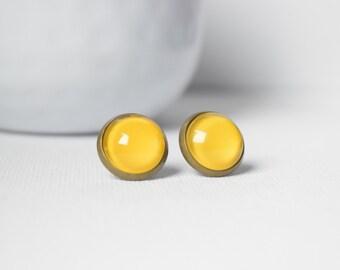 Earrings cabochons-sleepers - Yellow - 51