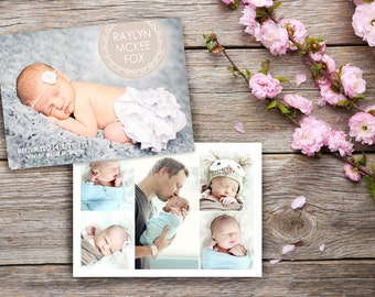 Photo Collage Newborn Birth Announcements, Baby Girl or Boy Announcement Cards, Printed Front & Back w/ Envelopes, Multi Photo Announcements