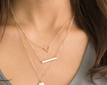 Gold Layered Necklaces with Skinny Bar Necklace, Triangle Necklace and Initial Necklace/ Delicate Necklace Layers by Layered and Long LS926