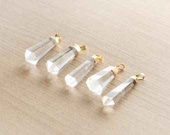 1 pcs of Natural Clear Quartz Point Pendant With Gold Plated Pendant - Gemstone Pendants