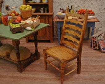 Farmhouse Ladderback Side Chair 1/12th Scale Dollhouse Miniature Furniture