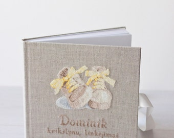 Baby  book baby memory book natural linen, decorated with cross stitch picture