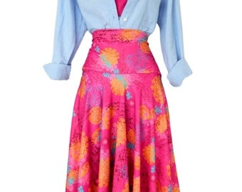 Women's Plus Size  knee length pink print Skirt with pockets  plus size womens. Small to 6X.