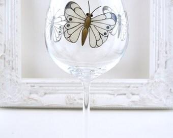 Monochrome Butterfly Wine Goblets