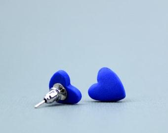 Cobalt Blue Heart Earrings, Cobalt Studs, Cobalt Earrings, Blue Studs, Blue Studs, Valentines gifts for her, heart studs, romantic gifts