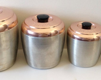 Vintage Aluminum Kitchen Canister Set with Copper Lids