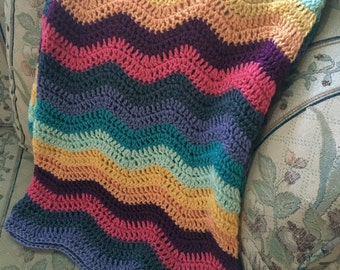 Handmade Multi-Color Ripple Striped Baby Afghan