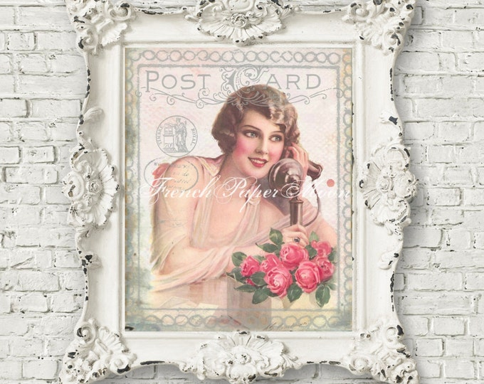 Shabby Chic Vintage Lady, Retro Telephone Digital Art, Digital Postcard, Roses, Printable Fabric Transfer Graphic
