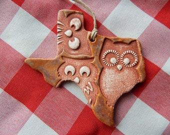 Texas Ornament, Trio of Owls, Fall Decor, Christmas