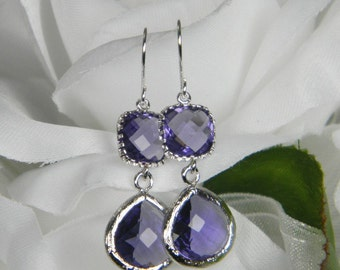 Purple Amethyst / Silver Bridesmaid Earrings ,Tanzanite Purple Teardrop, Purple Lilac Violet Tanzanite,  Purple Wedding Jewelry PDS1