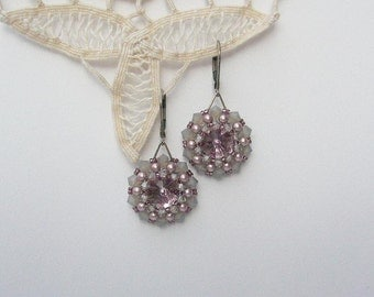 Crystal Earrings Soft Pink Silver