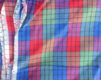 Vintage Silky Rayon Plaid Dress Fabric // red, blue, green, 2 1/2 yards plus