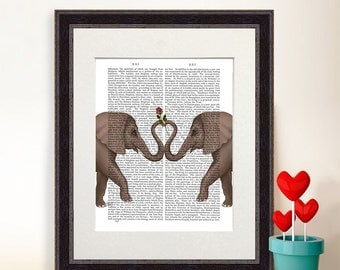 First anniverary gift idea - Elephants Heart and Rose  romantic gift unique wedding gift idea engagement gift couple gift elephant art print