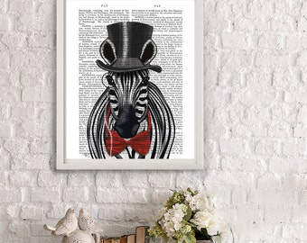 Zebra Print Top Hat - Zebra art zebra wall art zebra painting modern Nursery Art for Kids Room Décor circus animal circus poster circus art