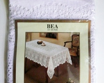 Vintage White Crochet Vinyl Tablecloth, 54 x 72, white vinyl tablecloth, Vinyl Tablecloth, Beatrice Home Fashions, Lace Tablecloth