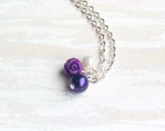 Dark Purple Flower girl rose necklace Rose Necklace Pearl Necklace Purple Pearl Necklace Flower Girl Gift Purple Wedding Beaded Jewelry