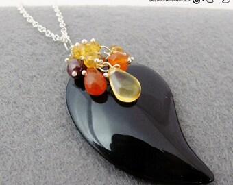 Gugur - Onyx,  citrine, carnelian, silver, necklace