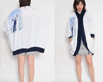 Vintage 80's White Printed Blazer / Oversized Batwing jacket