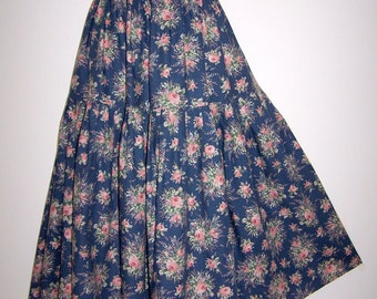Laura Ashley vintage gipsy boho style pleated tiered cotton/wool blend all seasons skirt, size 14 UK
