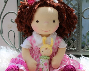 "Waldorf doll, 13.5"" tall doll steiner doll, organic doll,fabric doll, cloth doll, handmade"