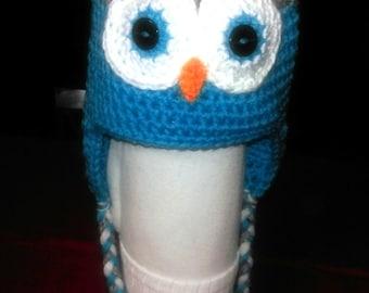 Crocheted Owl Ear-Flap Hat