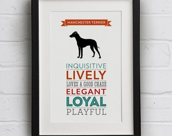 Manchester Terrier Dog Breed Traits Print - Manchester Terrier Gift