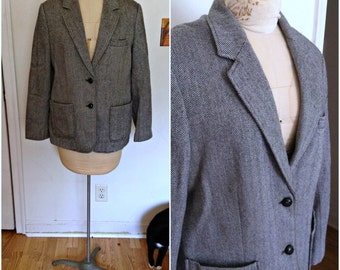 Vintage 1970s black & white wool herringbone jacket, size extra large, xl 12 14 16 vintage coat, vintage jacket, vintage clothing for women