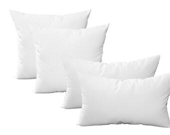 "Set of 4 - 20"" Square & Rectangle / Lumbar Pillows ~ Sunbrella Canvas White ~ Indoor / Outdoor Decorative Throw Pillows"