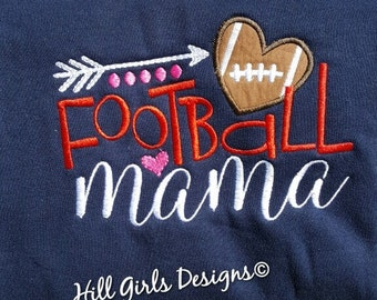 Football Mama appliquéd and embroidered shirt