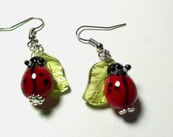 Glass Ladybug on Leaf Earrings