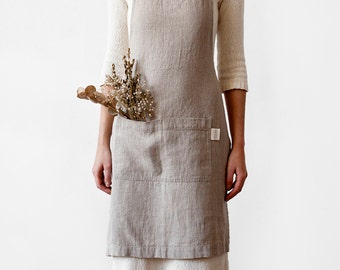 Natural Stone Washed Linen Apron