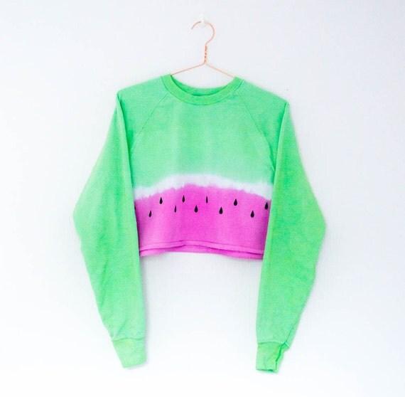 Tie Dye Sweater Watermelon Crop Top Festival By Afrodizziyak