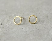 circle gold earrings, minimalist studs, wire circle Baladi earrings, love, simple studs, round earrings, bridal, wedding, bridesmaid gift