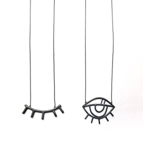Line Drawing Eye : Eye necklace long sketch pendant of open or closed line