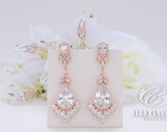 Rose Gold Bridal Jewelry White Rhodium Zircon Dangle Earrings Bridesmaid Drop Rose Gold Bridal Earrings